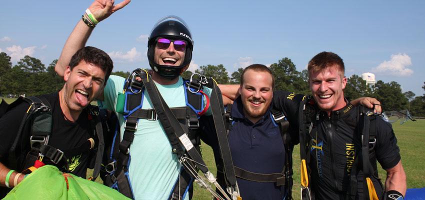 Celebrating after making a tandem skydive.