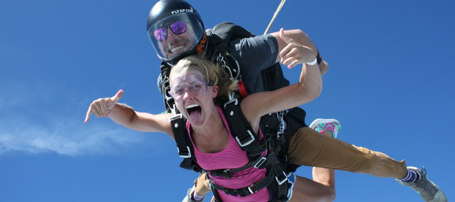 woman tandem skydiving in NC with Skydive Paraclete XP