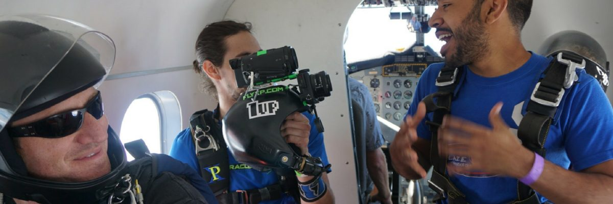 A video interview inside the plane before making a skydive.