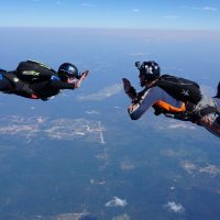 student in freefall learning to skydive solo