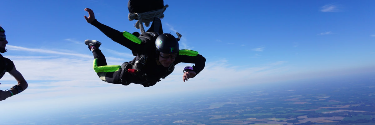 PSP student in freefall learning to skydive near Fayetteville NC