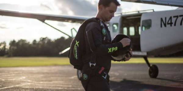 jumper about to board skydiving plane
