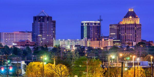 greensboro nc skyline at night