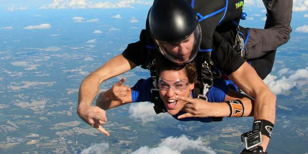 young woman experiences freefall at Skydive Paraclete