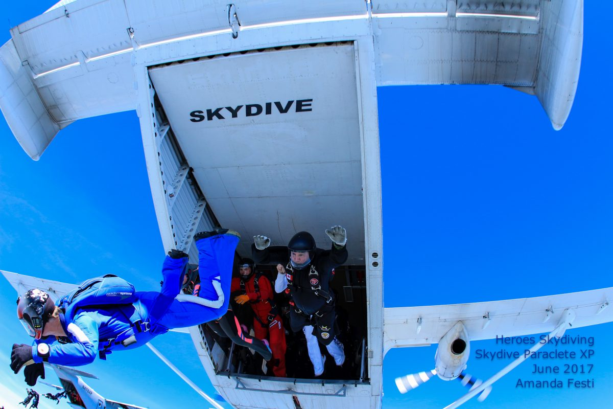 Skydivers enter freefall.
