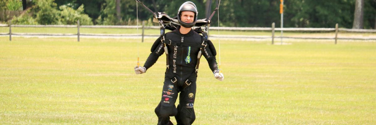 One skydiver lands after a jump.