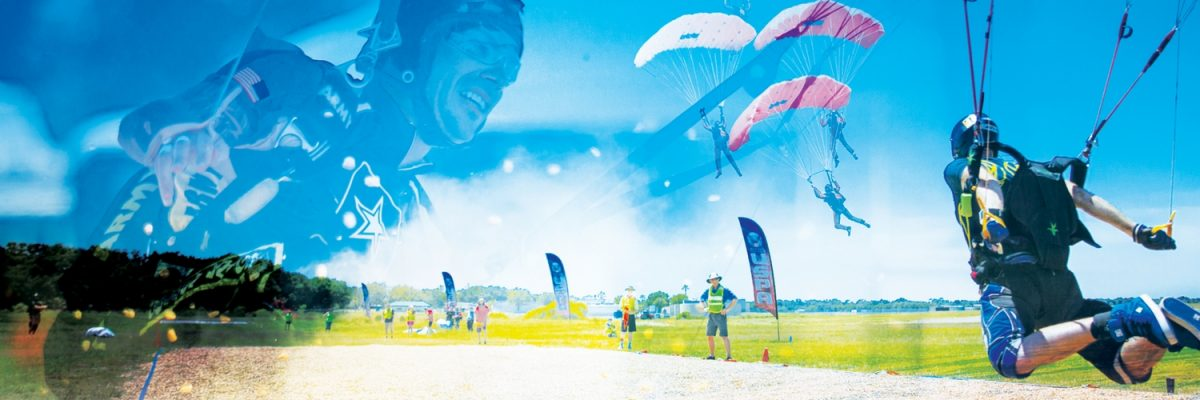 skydiver swoops into land at parachuting championships