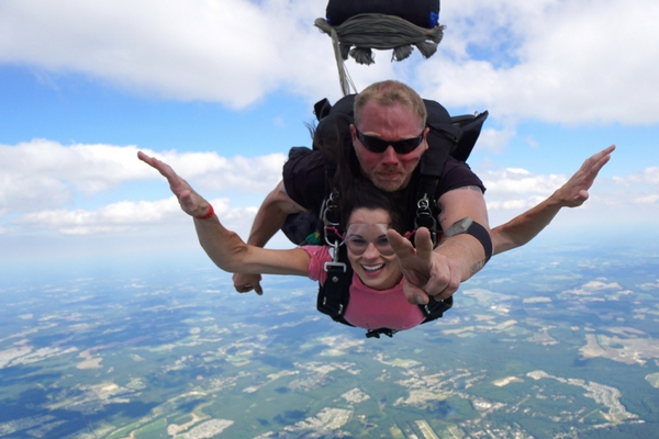 first-time skydiver enjoying freefall