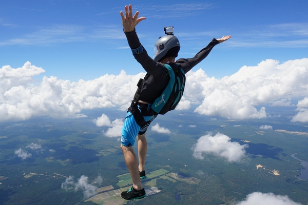 solo licensed skydiver in upright freefall position