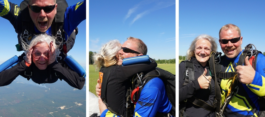 woman works through her fear of skydiving through the jump