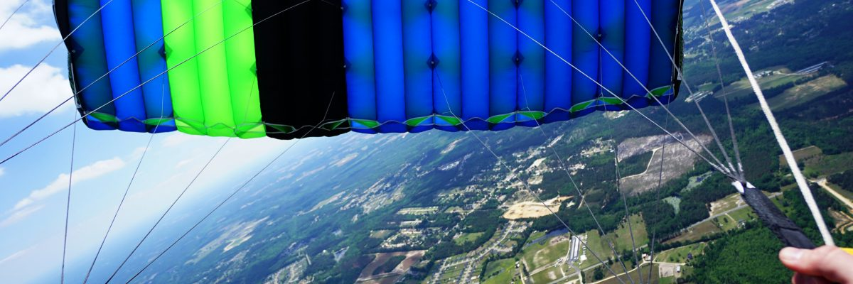 view from under skydiving canopy