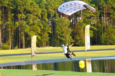 skydiver competes in skydiving swooping competition at Skydive Paraclete XP