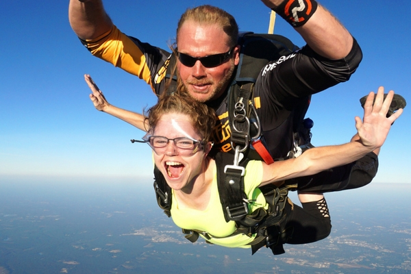 Heather Wolfe smiling in freefall