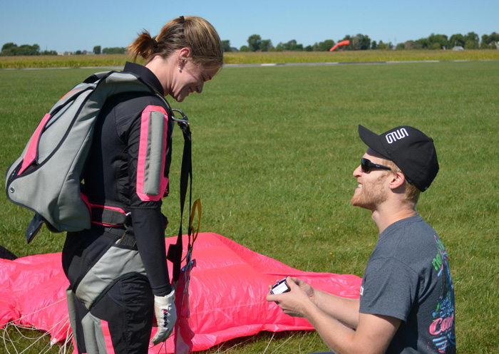 Skydiving videographer Elliot Byrd proposes to his wife Lauren.