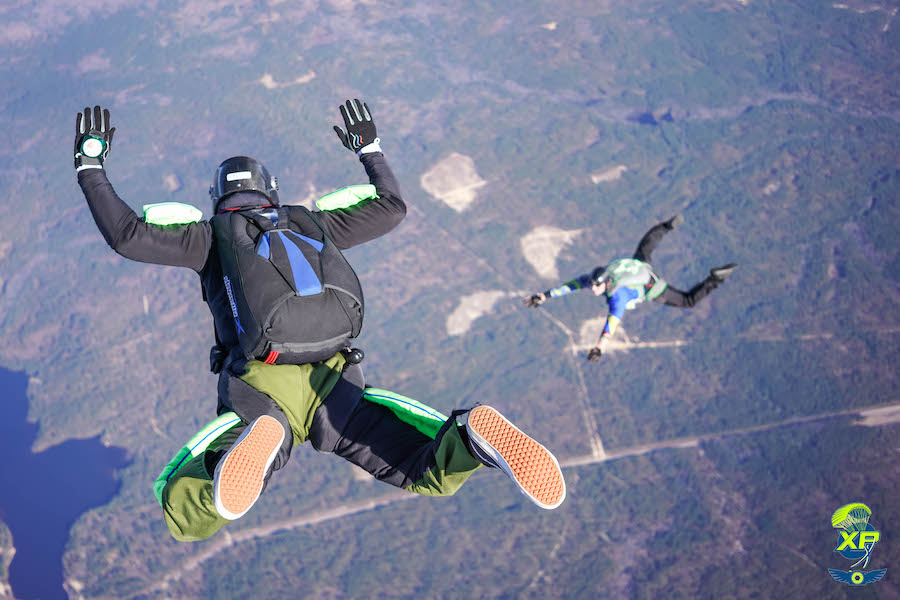 A new skydiver in free fall at Skydive Paraclete XP