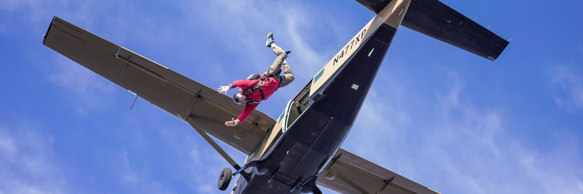 exiting an aircraft skydiving