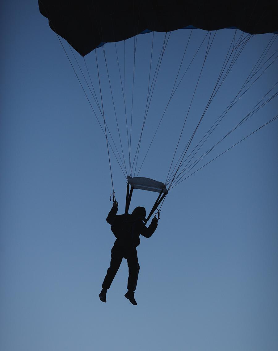 night skydiving jumper
