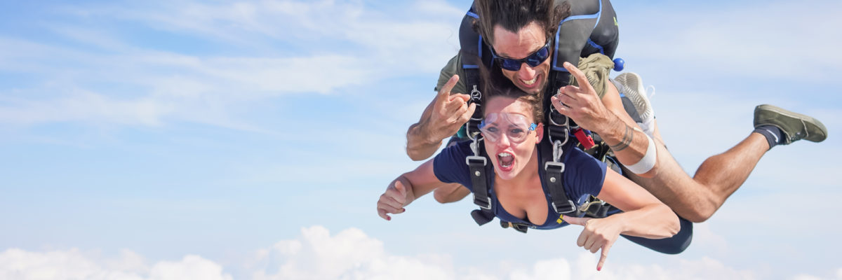 Tandem skydive woman and man