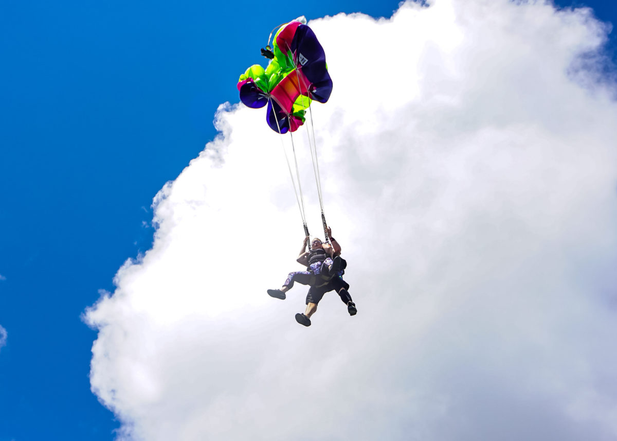 Two skydivers and their parachutes fly.