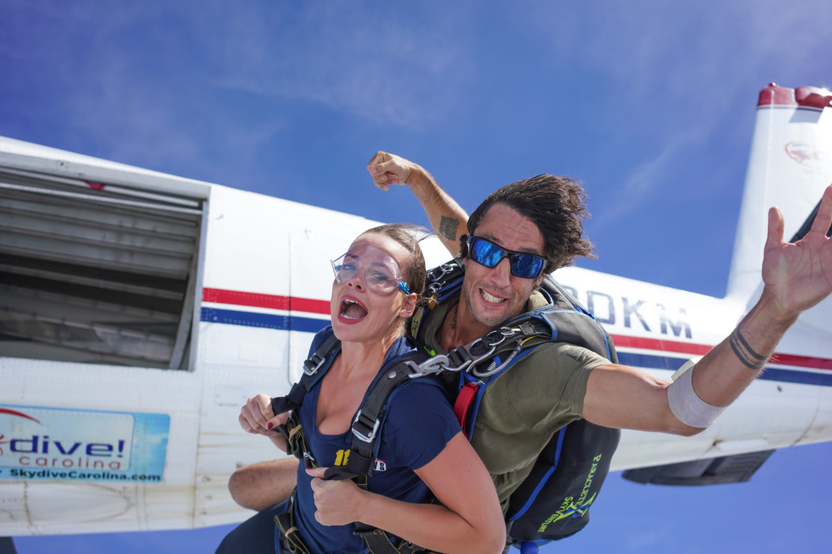 A tandem skydiving experience.